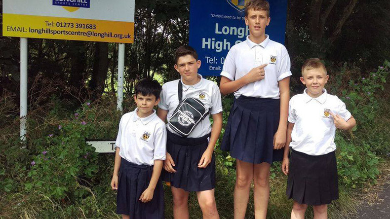 Brighton schoolboys protest shorts uniform ban by showing up in skirts
