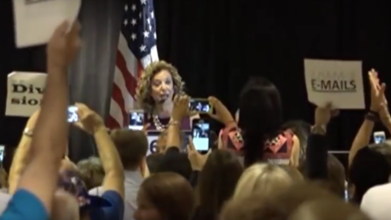 Debbie Wasserman Schultz booed off stage at Florida delegate meeting