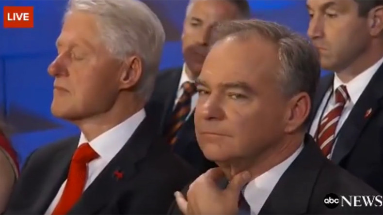 Bill Clinton caught napping during Hillary's historic nomination speech (VIDEO)