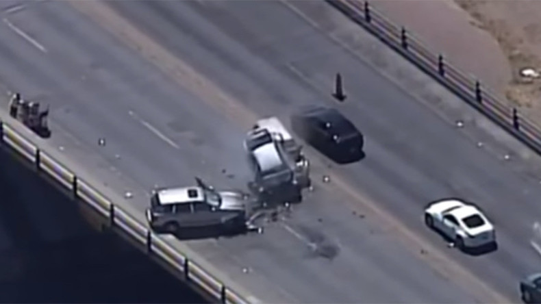 New Mexico police chase ends with serious 3-car crash (VIDEO)
