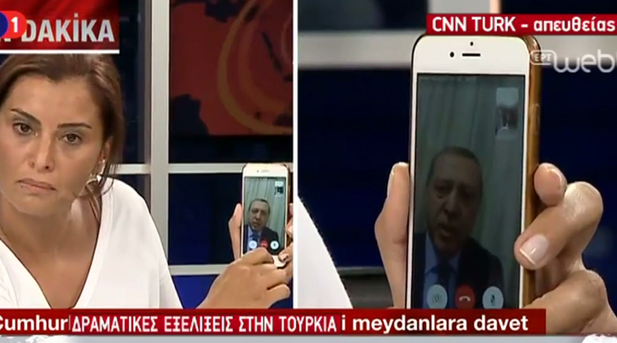 Erdogan calls people onto streets on CNN Turk via mobile phone, says 'will overcome' coup
