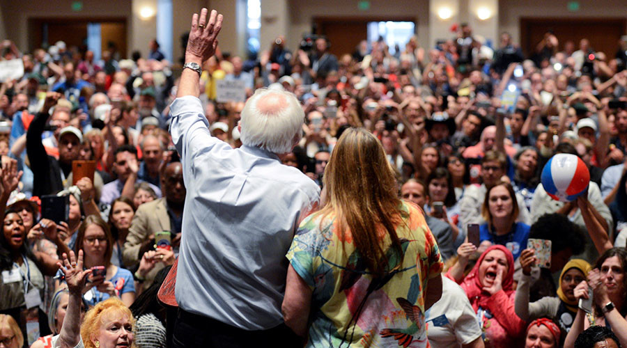 Sanders' wife caught on mic commenting on his nomination