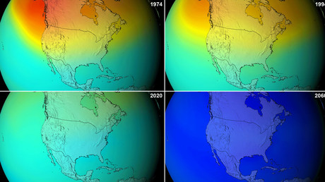 NASA projections of stratospheric ozone concentrations if chlorofluorocarbons had not been banned. © Wikipedia