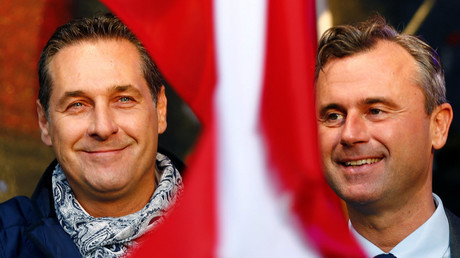 Austrian far right Freedom Party (FPOe) party leader Heinz-Christian Strache (L) and Freedom Party's presidential candidate Norbert Hofer © Leonhard Foeger