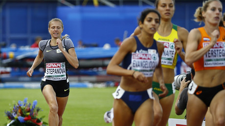 Yulia Stepanova during Women's 800m qualifiaction in Amsterdam. © Michael Kooren
