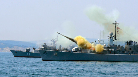 An anti-submarine rocket blasts off a rocket launcher from the Bulgarian navy frigate