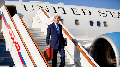 FILE PHOTO: US Secretary of State John Kerry arrives at Vnukovo international airport near Moscow, Russia, March 23, 2016 © Andrew Harnik