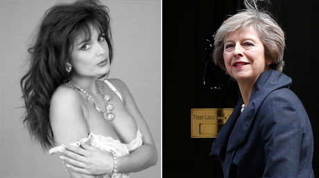 Glamour model Teresa May (L) and Britain's Home Secretary Theresa May. © Facebok