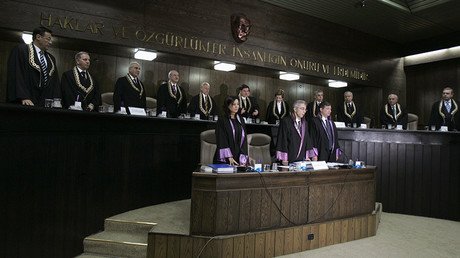 FILE PHOTO: Members of the Constitutional Court attend a hearing in Ankara © Umit Bektas