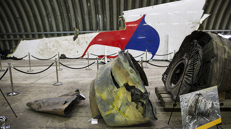 Airplane wreckage at the presentation of the report into the Malaysia Airlines flight MH17 crash in Gilze Rijen, the Netherlands © Michael Kooren
