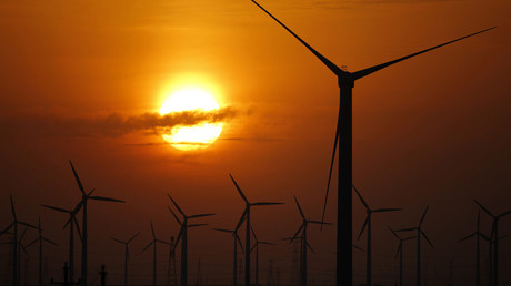 Wind turbines used to generate electricity are seen at a wind farm in Guazhou, China © Carlos Barria