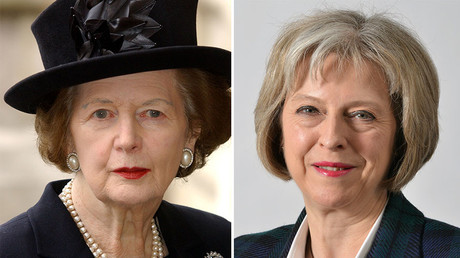 Baroness Margaret Thatcher (L), Britain's Home Secretary Theresa May. © Wikipedia / Reuters