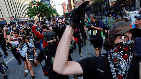 Protesters chant as they march through the streets during demonstrations near the Republican National Convention in Cleveland, Ohio, U.S., July 19, 2016. © Lucas Jackson