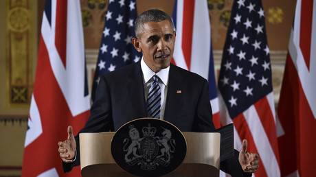 US President Barack Obama speaks during a press conference at the Foreign and Commonwealth Office in central London with Britain's Prime Minister David Cameron (unseen) following a meeting at Downing Street, in London © Ben Stansall