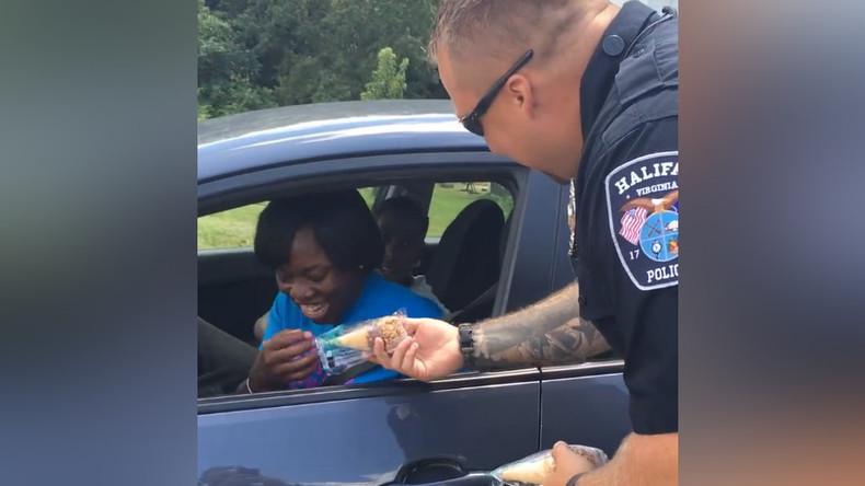Virginia police give woman 'heart attack'... & ice cream cone