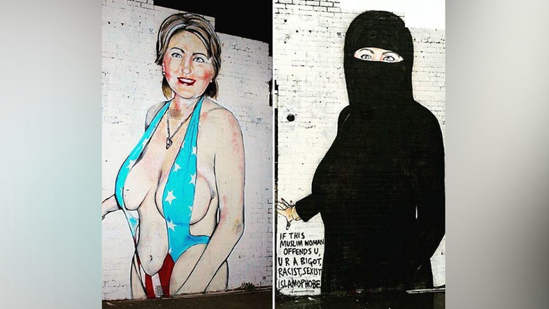 Clinton bikini/niqab mural becomes black wall as Melbourne authorities win censorship battle