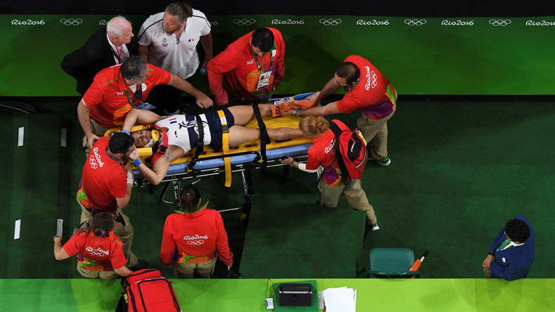 Olympian suffers gruesome leg injury during vault qualifier