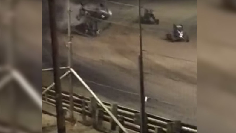 Horrific car crash during Kansas race caught on camera (VIDEO)