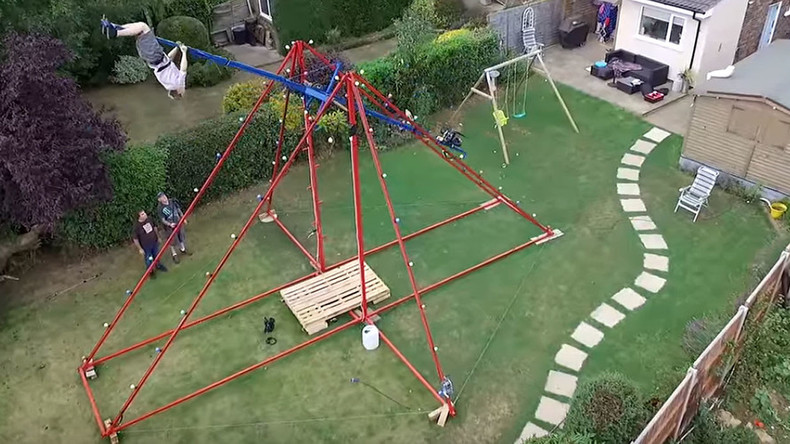 Extreme 360-degree backyard swing sends inventor into sickly spin (VIDEO)