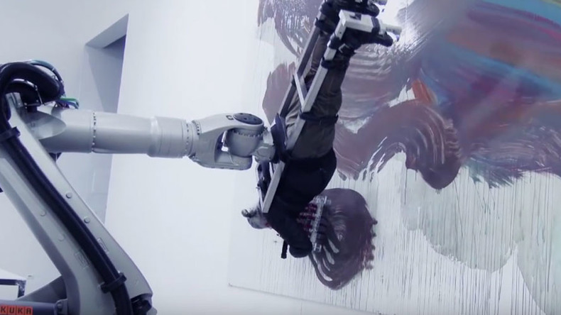 Robot uses artist's body as paintbrush to create abstract art (VIDEO)
