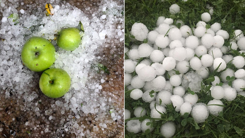 'Winter is coming': Huge hail hits Moscow amid last days of summer torrents (PHOTOS, VIDEO)