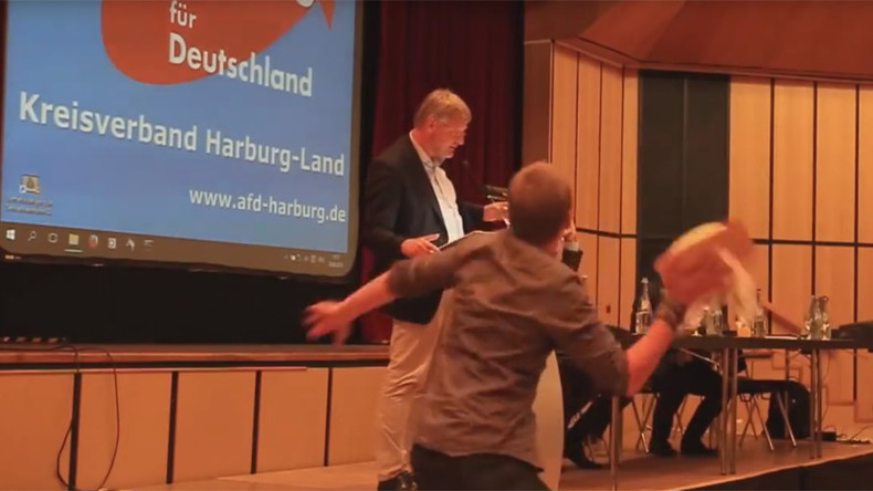 Flying cake: German far-left activist 'slightly' injures leader of anti-immigrant party (VIDEO)