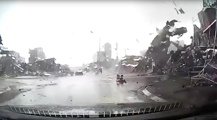 Vietnam town ripped to shreds by tornado in epic dashcam footage (VIDEO)