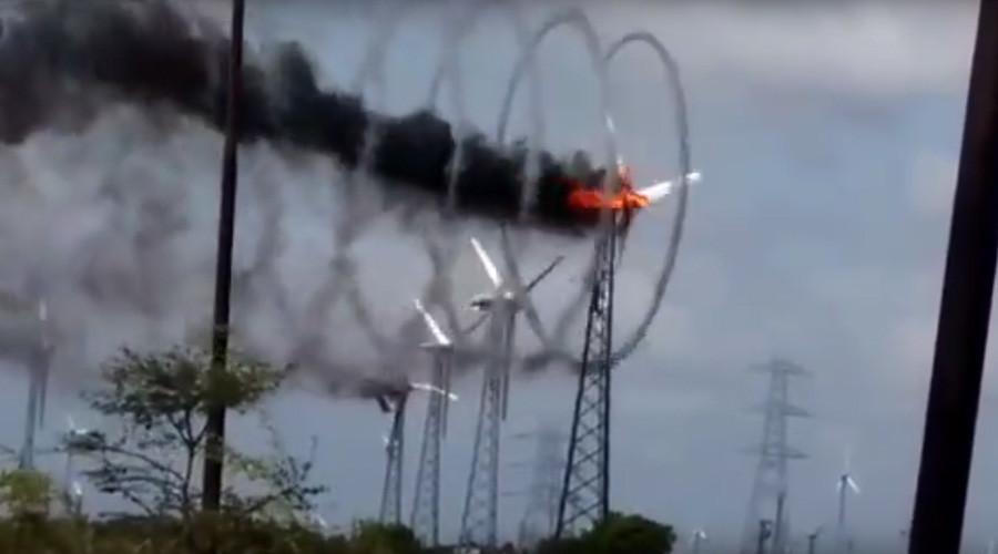 Flaming wind turbine in India creates stunning spirals of smoke (VIDEO)