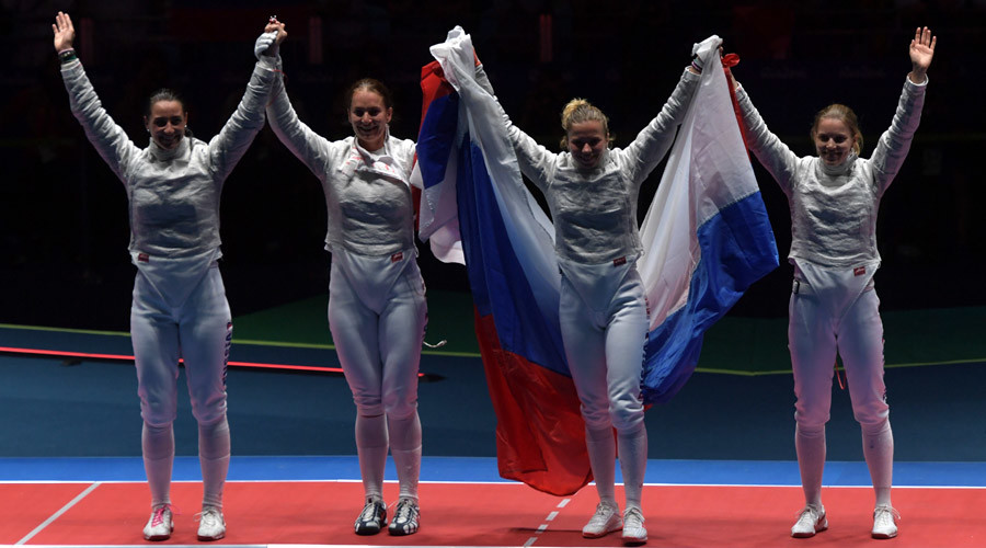 Russian women's fencing team beats Ukraine to win gold in Rio saber final