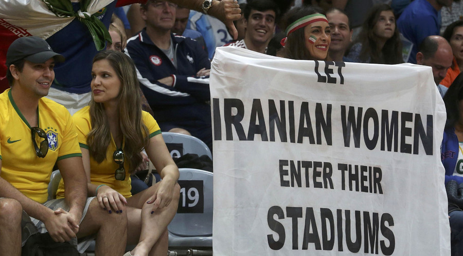 Olympic security tell Iranian women's rights activist to take down equality banner