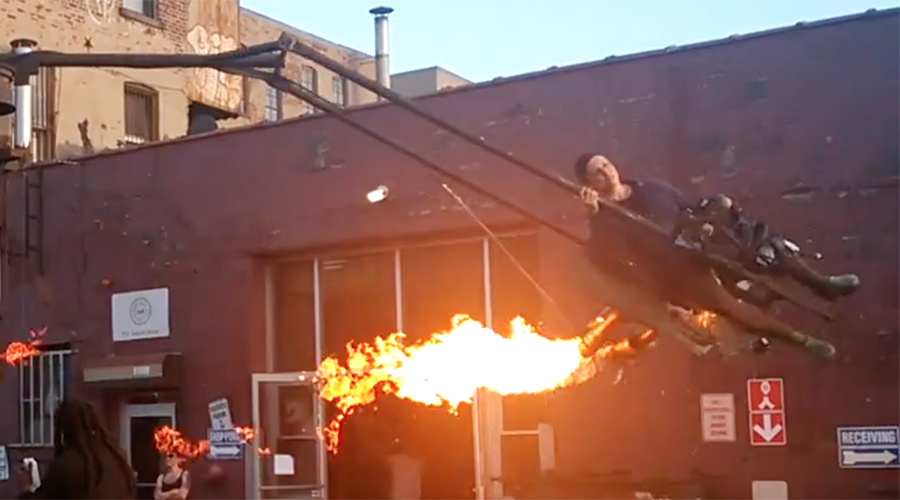 Wheel in the sky keeps on burnin': Jet engine merry-go-round looks terrifyingly fun (VIDEO)