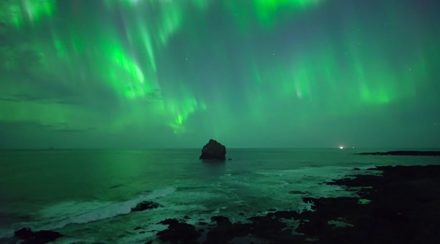 Spectacular drone footage captures Northern Lights over Iceland (VIDEO)