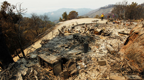 A destroyed home is seen after the Soberanes Fire burned through the Palo Colorado area, north of Big Sur, California, U.S. July 31, 2016. © Michael Fiala