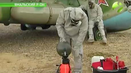 Russian biowarfare troops unload decontamination equipment in Yamal © Ямал Регион