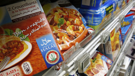 Packages of Halal food are displayed in a supermarket in Nantes, western France. © Stephane Mahe