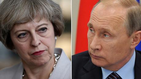 Britain's Prime Minister Theresa May and Russian President Vladimir Putin. ©Reuters