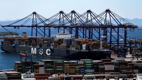 The MSC Irene container ship is moored at the Piraeus Container Terminal, near Athens © Alkis Konstantinidis