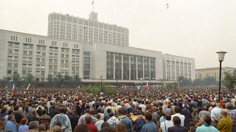 August 19, 1991. A state of emergency is declared in Moscow, troops and equipment move into the city. Demonstration in front of the Supreme Soviet of the RSFSR entitled
