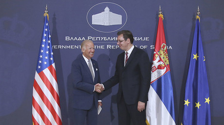 Vice President Joe Biden and Serbia`s Prime Minister Aleksandar Vucic shake hands during their meeting in Belgrade, Serbia, August 16, 2016. © Djordje Kojadinovic