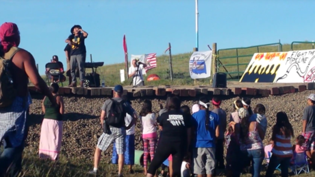 'Desecration': Protest against bulldozing of Native American burial grounds for Dakota pipeline
