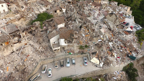 A drone photo shows the damages following an earthquake in Pescara del Tronto, central Italy, August 25, 2016. © Stefano De Nicolo