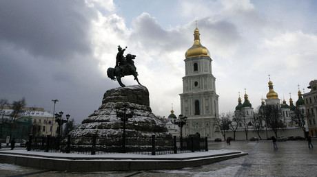 An equestrian statue of Bogdan Khmelnitsky in the square of his name in front of St. Sophia's Cathedral, Kiev. © Sergey Starostenko
