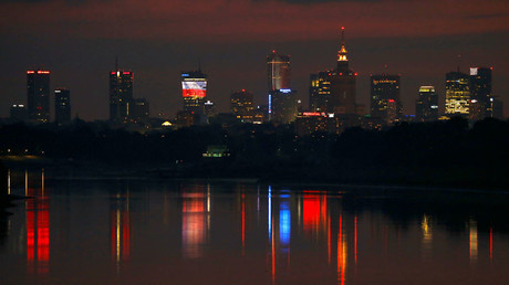 Skyline of Warsaw skyscrapers is pictured after sunset in Warsaw, Poland © Kacper Pempel
