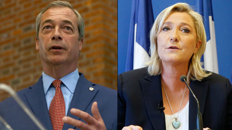 Nigel Farage, the leader of the United Kingdom Independence Party (UKIP) and Marine Le Pen, France's far-right National Front political party leader © Neil Hall / Jacky Naegelen