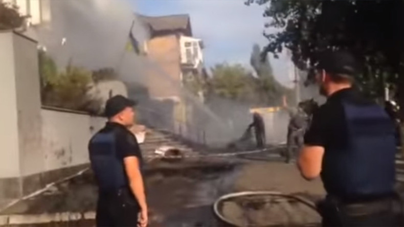 Offices of Ukrainian TV channel accused of pro-Russian views attacked, set on fire (VIDEO)