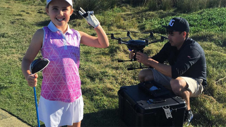 'Drone in one': 8yo Aussie golf prodigy takes down hexacopter with epic swing (VIDEO)