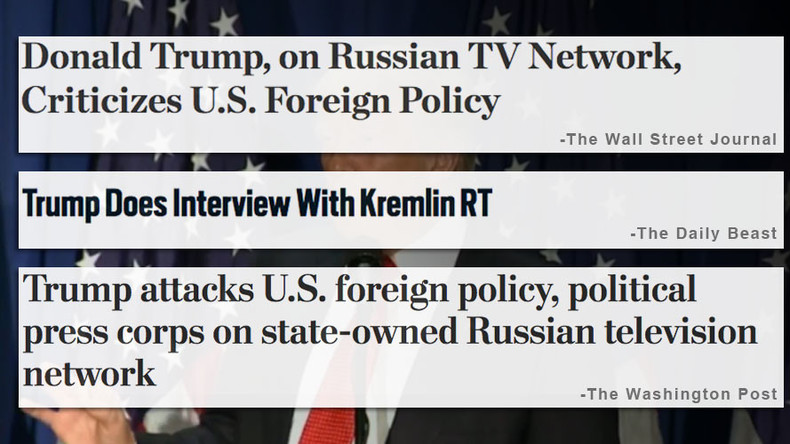 US media, Trump's own campaign freak out about his interview on 'Kremlin RT'