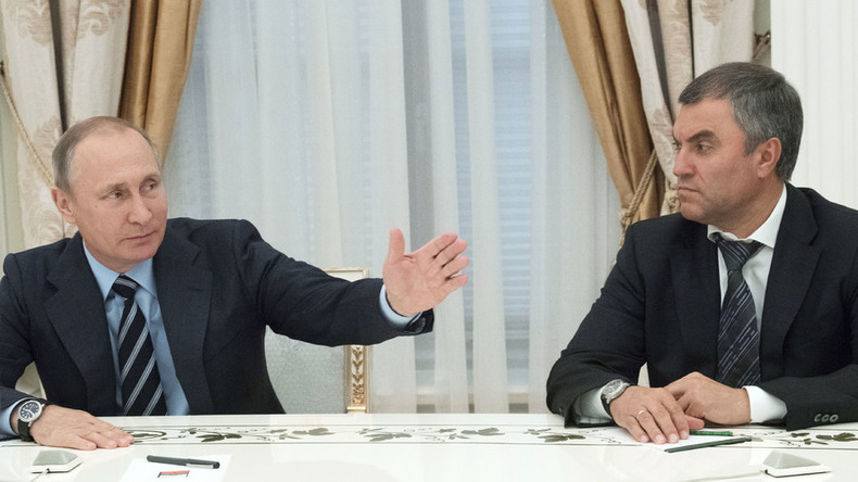 Putin proposes longtime ally as new Duma speaker, calls for urgent session