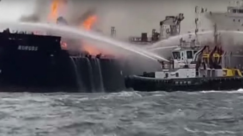 Massive fire engulfs oil tanker in Gulf of Mexico (VIDEOS, PHOTOS)