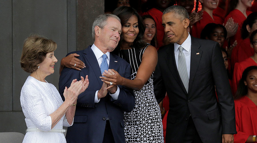 Too powerful for internet not to be snarky: Michelle Obama hugging Bush becomes meme